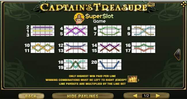 รูปแบบเพร์ไลน์รางวัลแตกบ่อยในเกม Captain's Treasure Pro