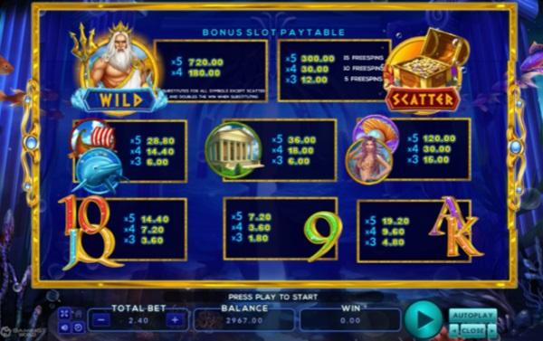 สัญลักษณ์ของ Neptune Treasure Bingo