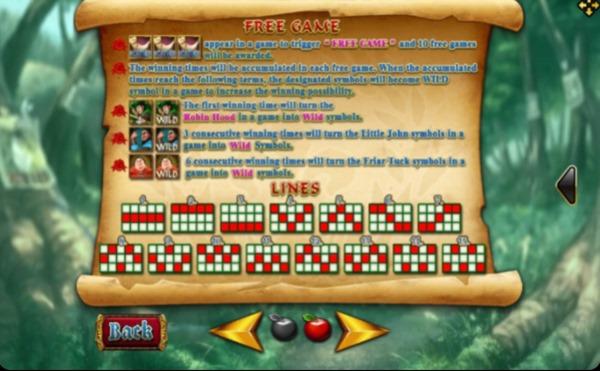 Robin Hood Lines ไลน์ที่ใช้ทั้งหมดในเกม