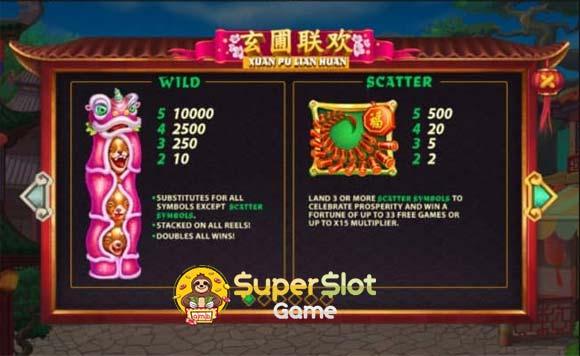 สัญลักษณ์ wild scatter เกม Xuan Pu Lian Huan