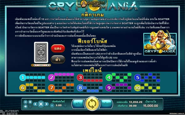 กติกาเกม และเพย์ไลน์เกมสล็อต CRYPTO MANIA